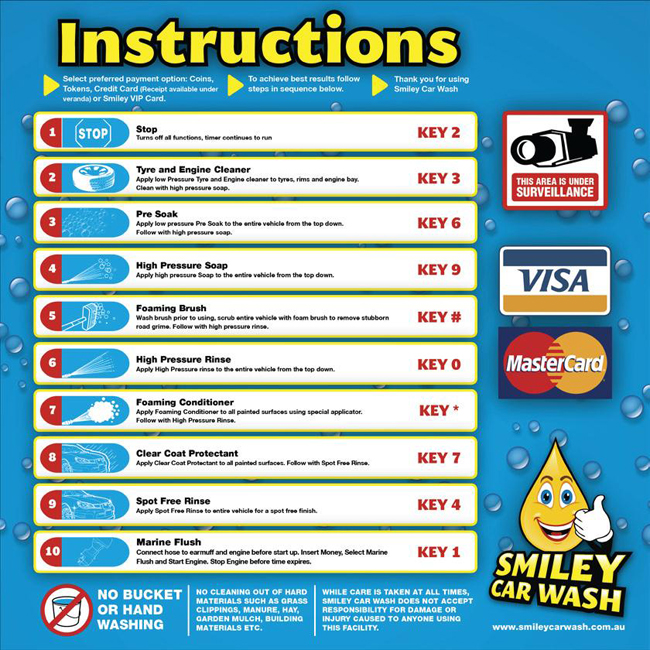 Smiley car wash meningie sa self serve car wash options and prices self serve wash menu solutioingenieria Image collections